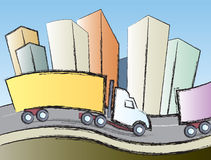 Trucks In The City. Big rigs traveling on the interstate through a large city Royalty Free Stock Image