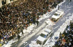 Trucks Cleaning Paper During Ticker Tape Parade, New York City, New York Stock Photos