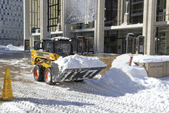 Trucks cleaning snow from streets after blizzard Royalty Free Stock Photography