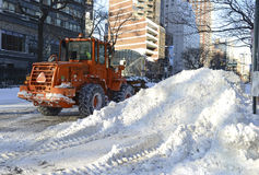 Trucks cleaning snow from streets after blizzard Stock Photography