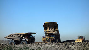Trucks at a coal mine in south dakota Stock Photography