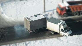 Trucks collided on the road. Accident, trucks collided on a slippery road view from above stock video