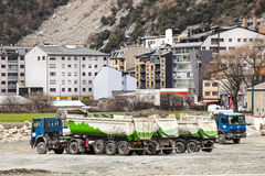 Trucks construction site. La Vella, Andorra Stock Photos