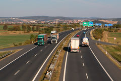 Trucks on the D5 highway Stock Photography