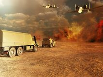 Trucks in a desert Stock Photos