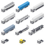 Trucks with different semi-trailers detailed isometric icons set Royalty Free Stock Photo