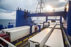 Trucks on ferry boat Stock Photo