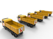 Trucks fleet driving school concept Royalty Free Stock Images