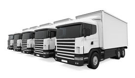Trucks Fleet Isolated Stock Photos