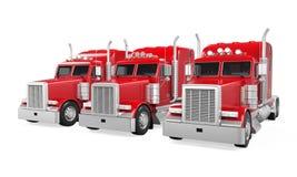 Trucks Fleet Isolated Stock Photo