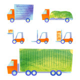 Trucks and forklifts. Some transportation vehicles by watercolor paint Royalty Free Stock Photo