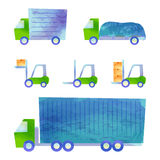 Trucks and forklifts. Some transportation vehicles by watercolor paint Stock Photography