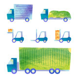Trucks and forklifts. Some transportation vehicles by watercolor paint Stock Images