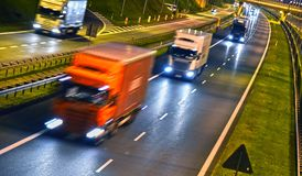 Trucks on four lane controlled-access highway in Poland.  stock image