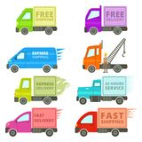 Trucks With Free or Fast Shipping Signs Illustration Stock Photo
