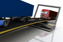 Trucks on freeway coming out of a laptop Stock Photos
