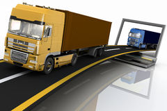 Trucks on freeway coming out of a laptop Royalty Free Stock Photos