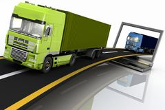 Trucks on freeway coming out of a laptop Stock Photography