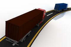 Trucks on freeway Royalty Free Stock Images
