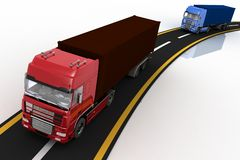 Trucks on freeway. 3d render illustration. Concept of logistics, delivery and transporting by freight motor transport Royalty Free Stock Photography