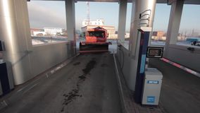 Trucks at gas pump station off highway stock video footage
