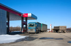Trucks at  gas station Stock Images