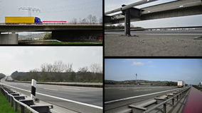 Trucks on german autobahn/highway driving away. Combined to one clip stock video footage