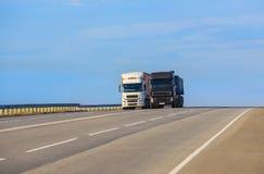 trucks goes on highway royalty free stock photo