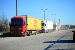 Trucks group in the Vilnius city street Royalty Free Stock Image
