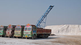 Trucks at a Gujarati salt works Stock Image