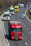Trucks on the highway. Road transport for freight stock photos