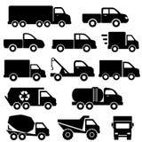 Trucks icon set. Truck icon set in black Stock Image