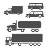 Trucks icons set. Trucks black and white icons set Royalty Free Stock Images