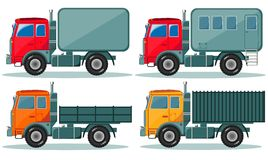 Trucks icons set. Vector of vehicles Royalty Free Stock Photo