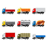 Trucks icons vector set Royalty Free Stock Images