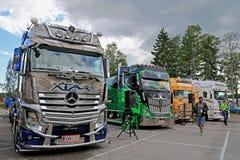 Trucks of Kuljetus Auvinen at Riverside Truck Meeting 2015 Stock Photos