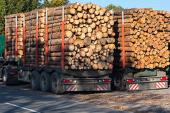 Trucks loaded with tree trunks along the roadside in front of a Stock Photo