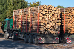 Trucks loaded with tree trunks along the roadside in front of a Stock Image