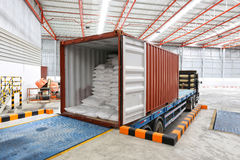 Trucks at loading dock shipping industry warehouse Royalty Free Stock Photo