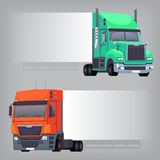 Trucks with long side. Trucks with non-dimensional side banner that can be used to create messages and place ads Stock Photography