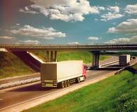 Trucks lorry on road Royalty Free Stock Photo