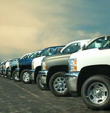 Trucks in a lot Stock Photography