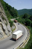 Trucks on mountain road Royalty Free Stock Photography