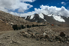Trucks on mountain road. Ladakh. India. Himalayan scenic Royalty Free Stock Photography
