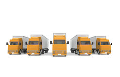 Trucks Orange. Part of Logistics Series. Perspective front view of Orange Trucks Royalty Free Stock Photos