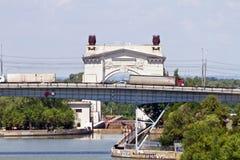 Trucks over the bridge through the Volga-don canal Stock Image