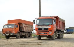 Trucks parked at the entrance to the hero-city Kerch royalty free stock photos