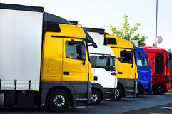 Trucks. On a parking area in Germany Stock Images