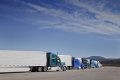 Trucks are parking at the Rest Area Stock Photo