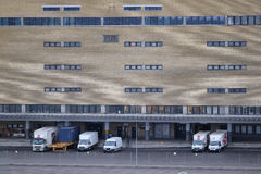Trucks on a parking in Stockholm harborn Royalty Free Stock Photos